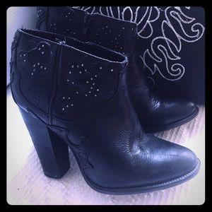 Diesel Booties Leather Black Women's Sz EURO 36